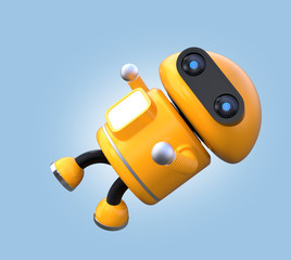 Cute orange robot is floating in the air. 3D rendering image.