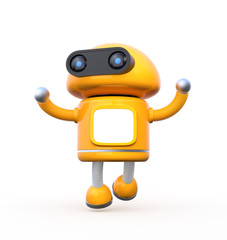 Cute orange robot with blank monitor is dancing on white background. 3D rendering image.