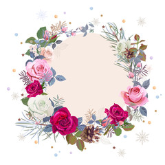 Christmas card, wreath of flowers. Round frame with white, red, pink roses, twigs, pine branches, cones, snowflakes, stars, tinsel, vintage background, digital draw illustration, template, vector
