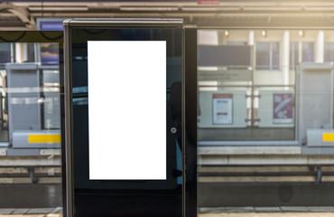 Blank digital poster on train platform