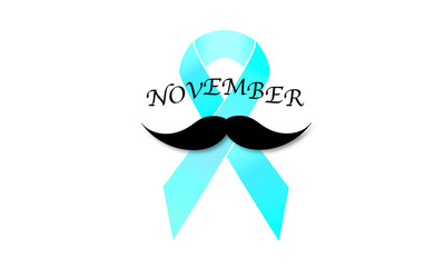 Isolated mustache and blue ribbon. International Day Prostate Cancer