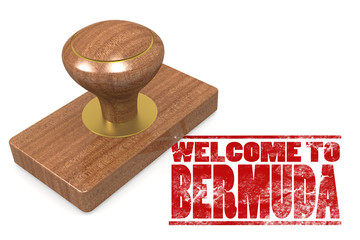 Red rubber stamp with welcome to Bermuda