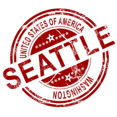 Seattle Washington stamp with white background