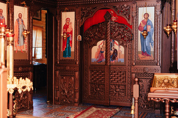 the Orthodox Church attributes, font ,icon ,cross , prayer room inside the Church