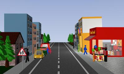 Belebte Straße auf der Kinder zwischen Autos hindurch auf die Straße laufen. Mit deutschem Verkehrsschild: Vorsicht, spielende Kinder.