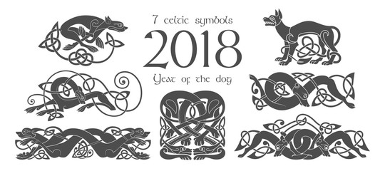 Set of celtic symbols of dogs. Design elements in tribal style.