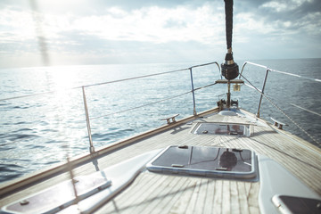 Yacht sailing in the tropical sea