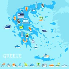 Greece map. Vector illustration