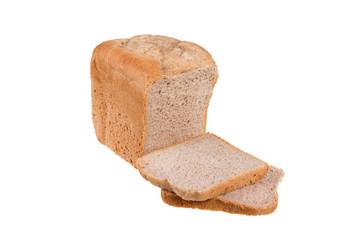 Homemade wholemeal spelt and white flour bread isolated on white background, baked in bread maker.