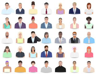 Portraits of different people, colleagues vector illustration