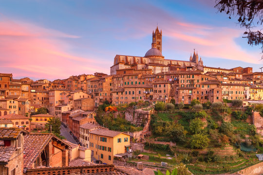Beautiful view of Dome and campanile of Siena Cathedral, Duomo di Siena, and Old Town of medieval city of Siena at gorgeous sunset, Tuscany, Italy