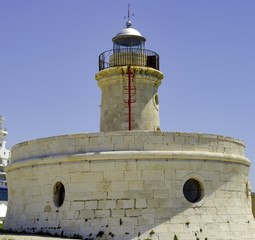Close-up lantern lighthouse view Bari. Apulia Italy