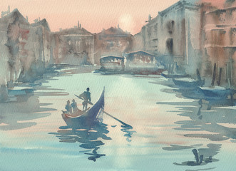 Venice sketch in the morning mist watercolor