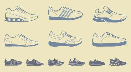 Set of icons of sports shoes