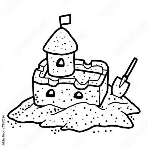 """""""sand castle / cartoon vector and illustration, black and ..."""