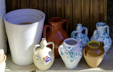 Typical production of ceramic containers made in puglia, Italy