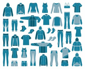 Icons of clothes for sports and workouts