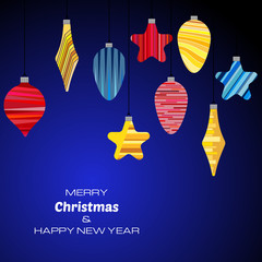 Merry Christmas and Happy New Year dark blue background with christmas balls. Vector background  for your greeting cards, invitations, festive posters.