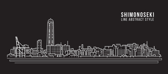 Cityscape Building Line art Vector Illustration design - shimonoseki city
