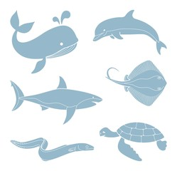 The silhouettes of sea creatures