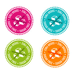 Wall Mural - Set of Allergen free Badges. Sugar free. Vector hand drawn Signs. Can be used for packaging Design.