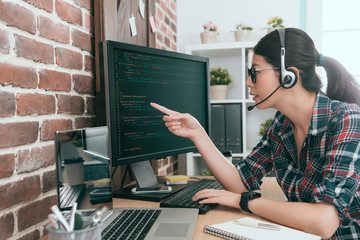beauty programmer woman wearing headset microphone