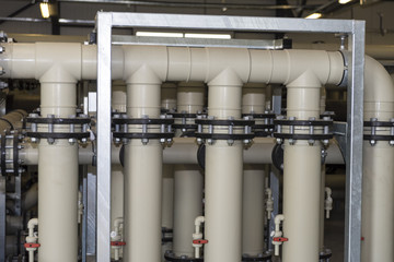 industrial pipes in the water treatment plant