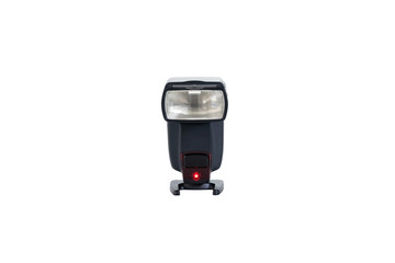 Closeup camera flash is a photo accessories isolated on white background.