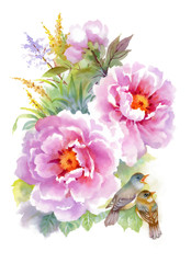 Watercolor flowers and birds on white background.