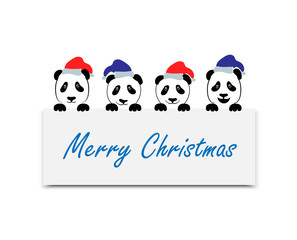 Positive emotions. A cartoon panda. Panda in the Santa Claus hat.. Christmas New Year theme