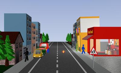 Belebte Straße auf der Kinder zwischen Autos hindurch einem Ball hinterher laufen. Mit deutschem Verkehrsschild: Vorsicht, spielende Kinder.
