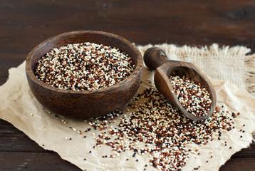 Uncooked mixed quinoa grain in a bowl