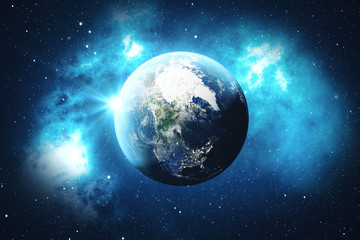 3D Rendering World Globe from Space. Blue Sunrise View From Space. Showing Night Sky With Stars and Nebula. Elements of this image furnished by NASA.