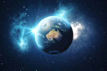 3D Rendering World Globe. Earth Globe with Backdrop Stars and Nebula. Earth, Galaxy and Sun From Space. Blue Sunrise. Elements of this image furnished by NASA