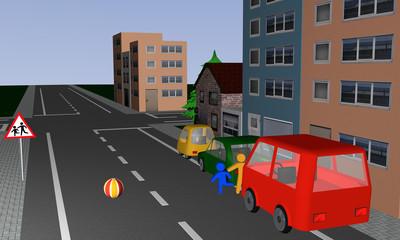 Verkehrssituation: Kinder rennen, hinter einem Ball hinterher, auf die Straße. Mit deutschem Verkehrsschild: Vorsicht, spielende Kinder.