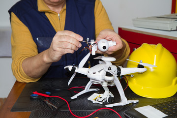 electrician fitting a quadcopter