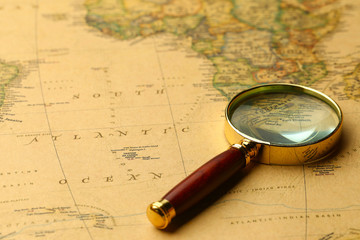 magnifier on vintage map