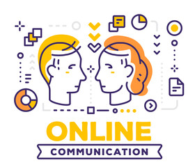 Vector illustration of communicating people male and female heads. Online communication concept on white background with title and icons.