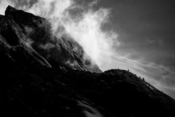 Mountaineers ascending Mount Kinabalu, Borneo