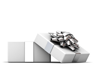 Open gift box , present box with silver ribbon bow isolated on white background with shadow . 3D rendering.