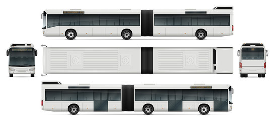 Bus vector mock-up for advertising, corporate identity. Isolated passenger transport template on white. Vehicle branding mockup. All layers and groups well organized for easy editing and recolor.