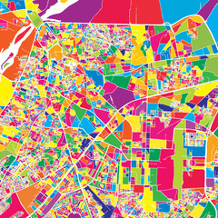 Lahore, Pakistan, colorful vector map