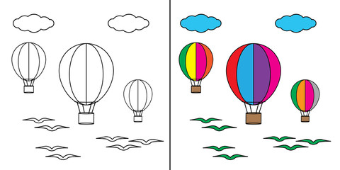 coloring air balloon illustration design