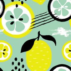 Brush Grunge Lemon Seamless Pattern.