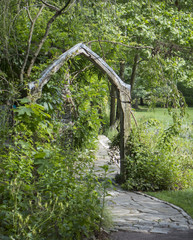 Wooden Arch on a Garden Path