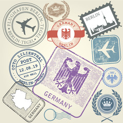 Travel stamps set Germany and Berlin journey