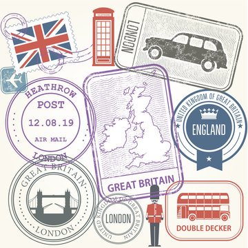 Travel stamps set - Great Britain and England journey