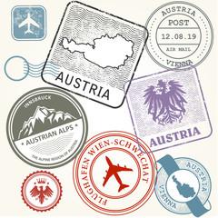 Travel stamps set - Austria, Vienna and Alps journey