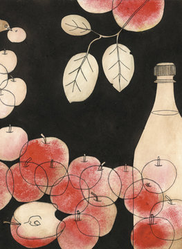 Apples with bottle