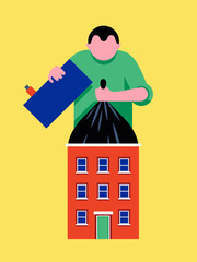 Illustration of man lifting bin bag from house